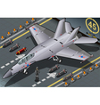 Isometric Fighter Bomber Landed in Front View vector image