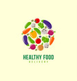 logo healthy food vegetables delivery emblem vector image vector image