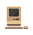old personal computer woth mouse retro pc vector image vector image