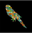 parrot budgerigar bird mosaic color silhouette vector image vector image