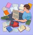 pop art male student reading books vector image
