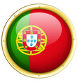 portugul flag on round badge vector image vector image