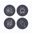 Radio retro TV and PC mouse icons vector image