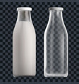 realistic transparent clear empty milk bottle vector image vector image