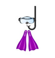 retro diving goggles with purple flippers vector image vector image