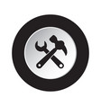round black white icon - claw hammer with spanner vector image vector image