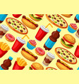 seamless pattern with fast food meal tasty vector image vector image