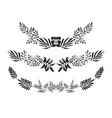 set monochrome sketchy botanical laurel wreaths vector image vector image