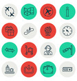 set of 16 transportation icons includes world vector image vector image