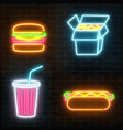 set of fast food neon signs ona dark brick wall vector image vector image
