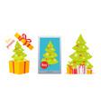 set of winter holidaya with christmas tree vector image vector image