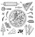 set pizza with cheese yummy italian vegetarian vector image vector image