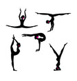 set silhouettes gymnasts on a white vector image vector image