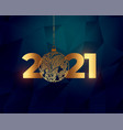 shiny happy new year golden 2021 background design vector image