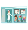 Sick children at doctor sitting on chairs cartoon vector image