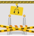 silhouette man sign hanging crane with tape under vector image vector image