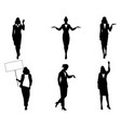 silhouettes of businesswomen in action vector image vector image