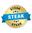 steak 3d gold badge with blue ribbon vector image vector image