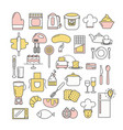thin line art style design kitchen icon set vector image vector image