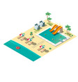 tropical resort beach isometric map section vector image