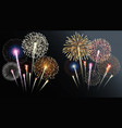 two groups isolated fireworks vector image