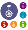 unicycle icons set vector image vector image