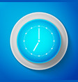 white clock icon isolated on blue background vector image vector image