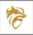 wolf shield icon logo head logo vector image vector image