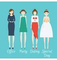 Woman character set in different clothes style vector image