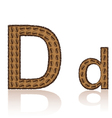 letter d is made grains of coffee isolated on whit vector image
