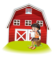 A girl reading in front of the barnhouse vector image vector image
