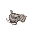 African Elephant Head Watercolor vector image