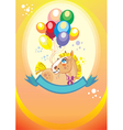 Background with balloons and pony vector image vector image