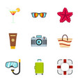 beach holidays icons set flat style vector image vector image
