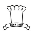 best chef black and white emblem with hat and sign vector image