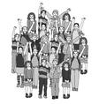 big group of smiling happy children black vector image