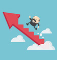 boss businessman climbing arrow stairs to vector image