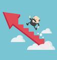 boss businessman climbing arrow stairs vector image vector image