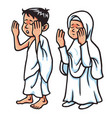 boy and girl hajj praying vector image vector image