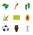 brazilia icon set flat style vector image vector image
