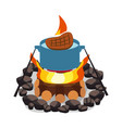 camping bonfire burning woodpile and round of vector image vector image
