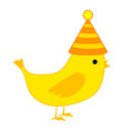 canary bird with yellow feather isolated on white vector image