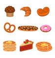 cartoon cakes wheat products set sweet pretzel vector image