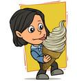 cartoon girl character eating big white ice cream vector image vector image