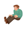 Cartoon man in green top and brown pants sitting vector image vector image