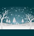 deer family with winter snow in the night vector image