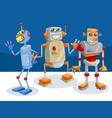 fantasy robot characters cartoon vector image vector image