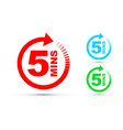 five minutes icon set vector image