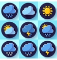 flat color weather meteorology icons set vector image
