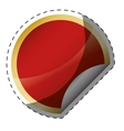 glossy finish red circle with golden frame blank vector image vector image